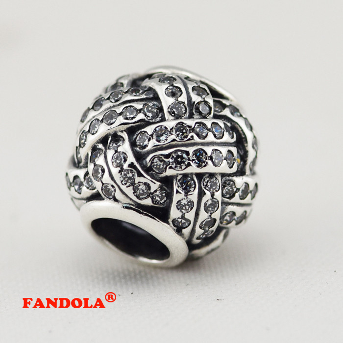 77cb5a5cc Fits for Pandora Charms Bracelets Love Knot Beads With Clear CZ 100% 925  Sterling-Silver-Jewelry Free Shipping