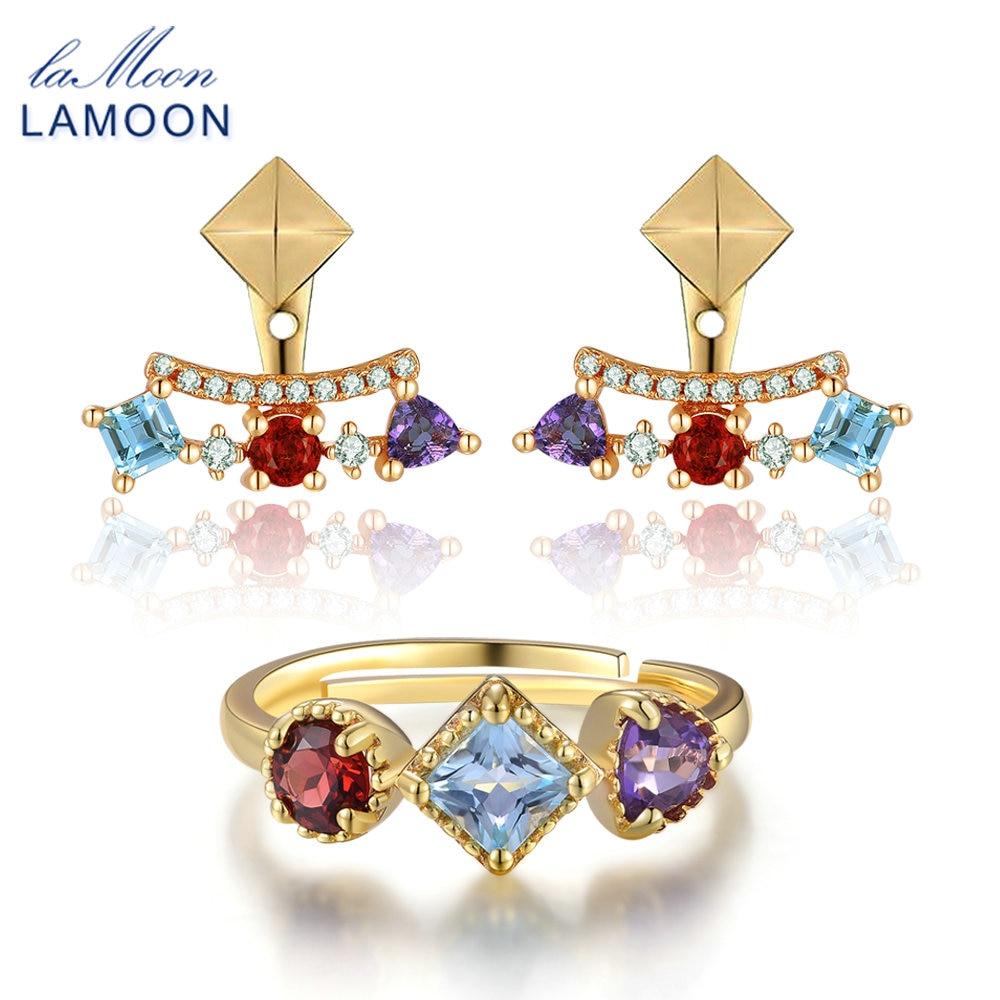 LAMOON Fine Jewelry Sets 925 Sterling Silver Jewelry Pyramid 0.7ct 3mm Natural Amethyst Garnet Topaz Fashion Women Earrings New
