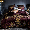 2018 Noble europeo vino rojo edredón juego de sábanas de algodón egipcio suave 4/6 piezas de cama de tamaño Queen King cubre