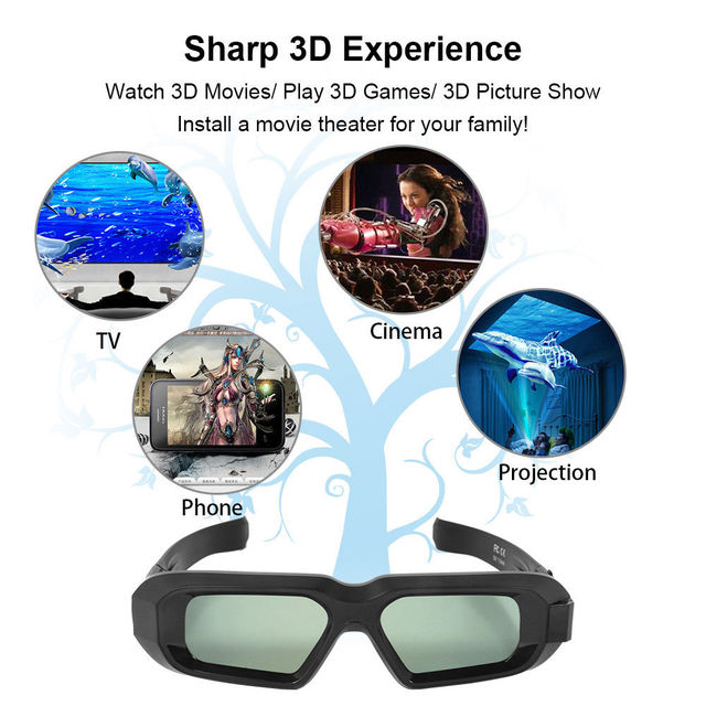 d239648fc54 USB Rechargeable Portable Bluetooth Infrared 3D Active Shutter Glasses for  3LCD Epson projector Samsung Panasonic Sharp 3D TV. Previous  Next