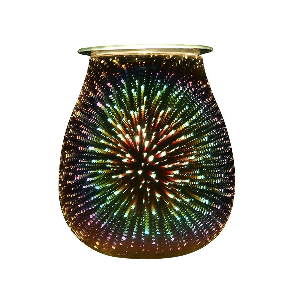 Glass 3D Effect Starburst Firework Electric Wax Candle Oil Warmer Aromatherapy Incense Burner For Cafe Bar Home Table Decorative the candle cafe cookbook