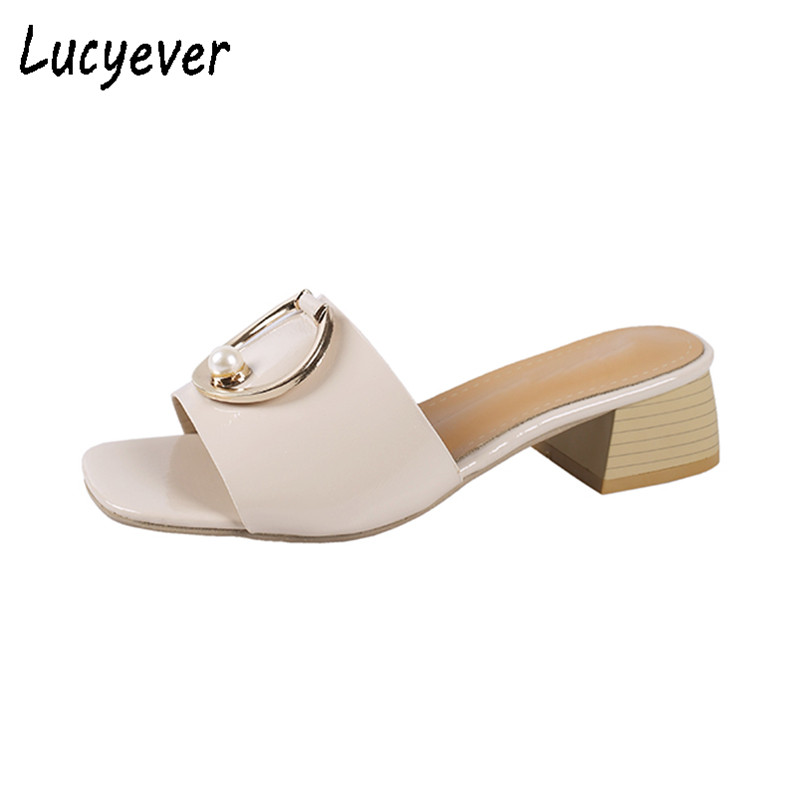 Lucyever Summer Slippers Women Beach Flip Flp[s Casual Shoes Fashion Thick Heels Outdoor Slides Leather Sandals Shoes Woman ...