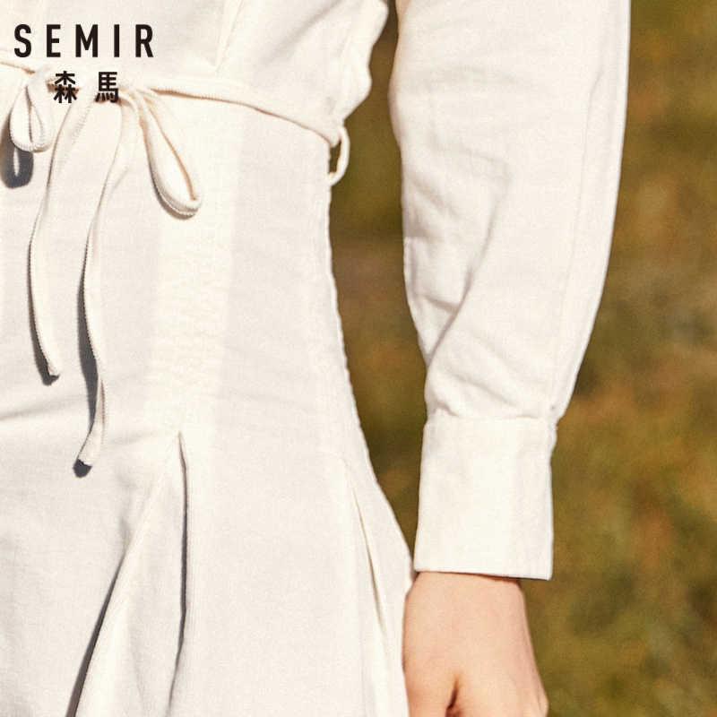 SEMIR женское расклешенное платье с длинным рукавом и круглым вырезом, платья с воротником, 100% хлопок, со складками на манжетах, женское платье