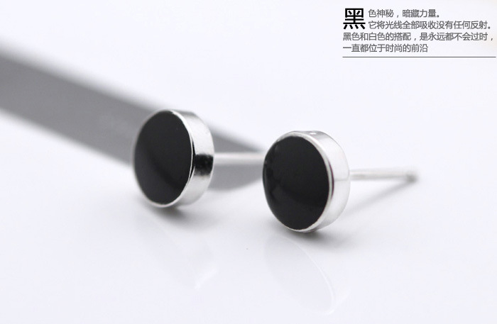 925 Sterling Silver Earrings Korean Black For Men Stud Fashion Nature Agate In From Jewelry Accessories On