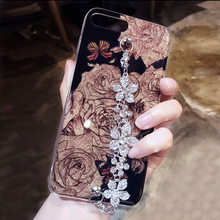 Luxurious Crystal Diamond Flower Bracelet For iPhone 7 eight Plus 6 6S Plus