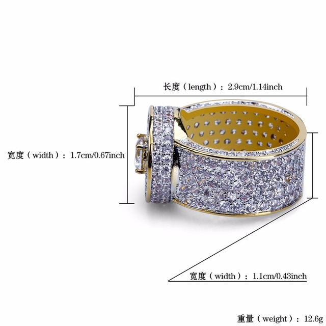 Hip Hop Luxury Full AAA Cubic Zirconia Ice Out Bling Golden Ring Mens Gold Color Brass Round Rings Male Rock Jewelry