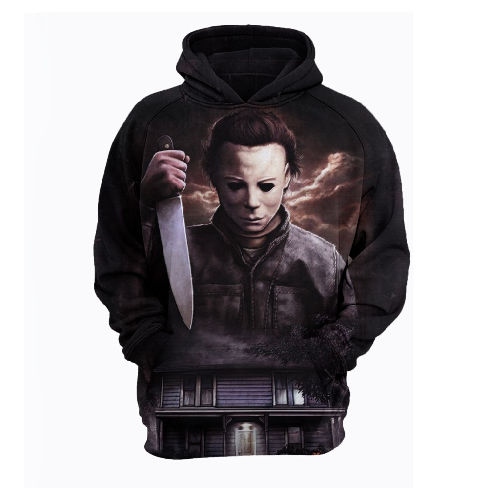 Halloween Michael Myers Cosplay Costumes Halloween Michael Myers Mask And Drips hoodies Scary Movie Horror 3D Printed Cool coat