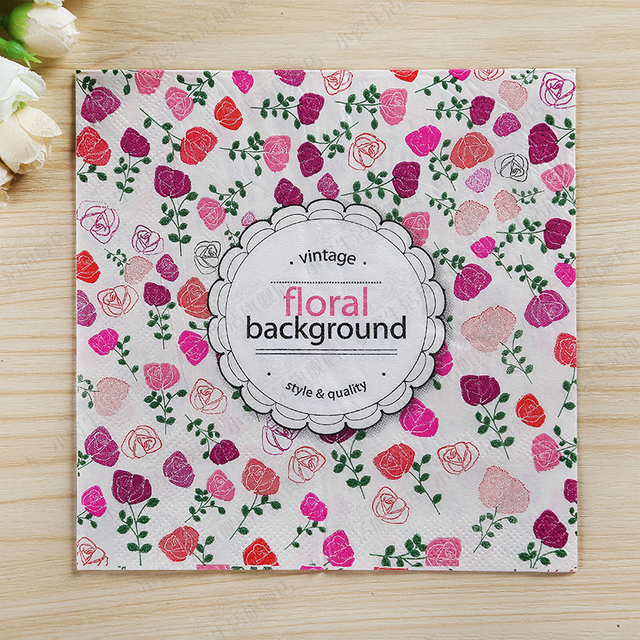 200pcs vintage flower background paper napkin dinner table decoration for wedding birthday garden afternoon tea party