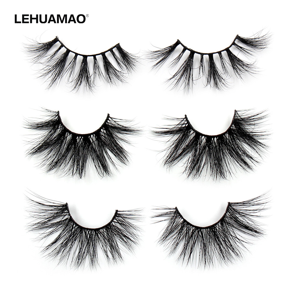 LEHUAMAO False Eyelashes 5D Mink Eyelashes 25mm Natural Long Lashes High Volume Fluffy Eyelash Cruelty Free Dramatic Lash Makeup