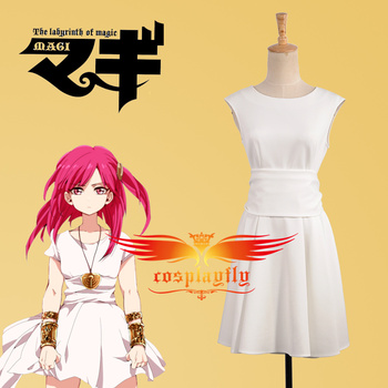 Magi-The Labyrinth of Magic Morgiana White Dress  Adult Women Outfit Cosplay Costume Custom Made Any Size with Wig and Wig Cap the rising of the shield hero itsuki kawasumi shoes cosplay boots custom made any size
