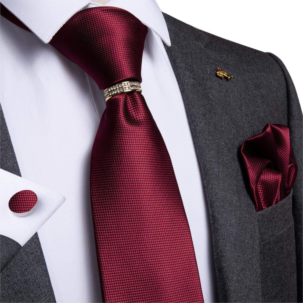 Mens Necktie Ring Red Solid Wedding Tie For Men Necktie Ring Hanky Cufflinks Silk Tie Set DiBanGu Designer Business JZ-03-296