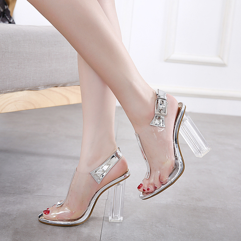 2017 sumer new style sexy fish head sandals transparent high with thick with crystal with feamle buckle sandales rene vilard шорты rv sumer 30304 черный