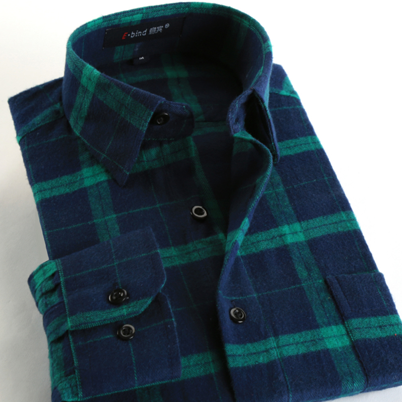 New Fashion 2017 Fall Winter Men Casual Plaid Shirt Long ...