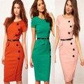 Vestidos de La Calle Vestido de O-cuello de La Rodilla-Longitud del Botón de Las Mujeres Ropa de Trabajo Oficina Vestido Lápiz Vestidos de Fiesta Más El Tamaño