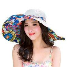 Новые повседневные уличные летние шляпы для женщин, украшенные дамскими принтами, двухсторонняя Складная пляжная шляпа, Пляжная соломенная шляпа с бантом от солнца