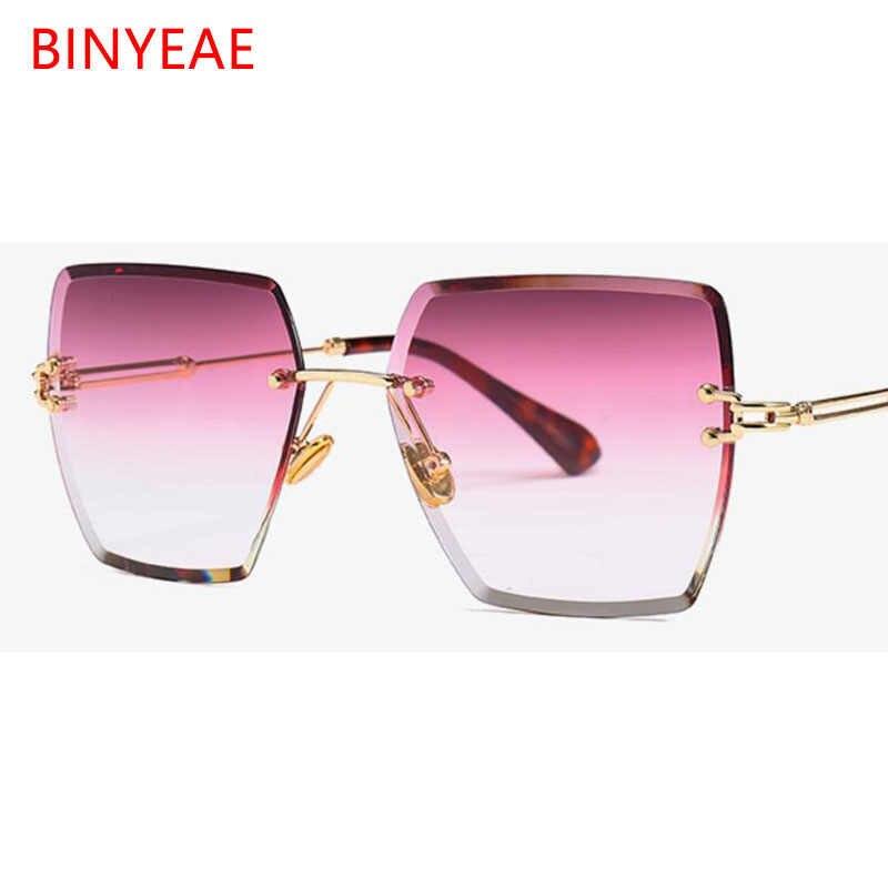 8f507ecd8b Crystal Square Rimless Sunglasses Gradient Lens Transparent Clear Sun  Glasses For Women Luxury Vintage Brand Big