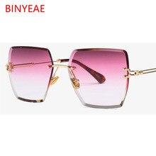 2e05545249 Crystal Square Rimless Sunglasses Gradient Lens Transparent Clear Sun  Glasses For Women Luxury Vintage Brand Big