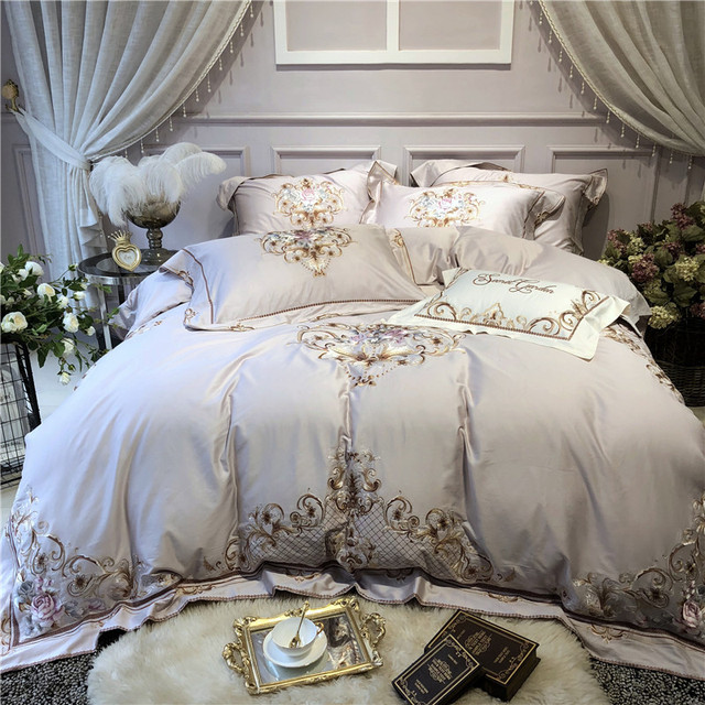 New Luxury gray egyptian cotton Bedding set queen king size bedsheet/fitted sheet embroidery duvet cover bed set parure de lit