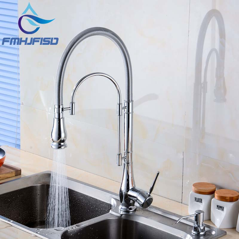 Deck Mounted Kitchen Faucet Swivel Spout Vessel Sink Mixer Tap Dual Spray Spring Kitchen Faucet Hot And Cold Mixer chrome finish dual spout kitchen sink faucet deck mount spring kitchen mixer tap kitchen hot and cold water tap