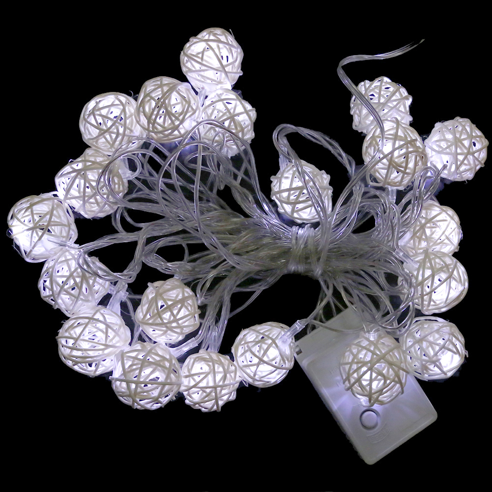 Fairy christmas ornaments - White Rattan Wooden Cane Wicker Balls Fairy Lights 5m 220v For Christmas China Mainland