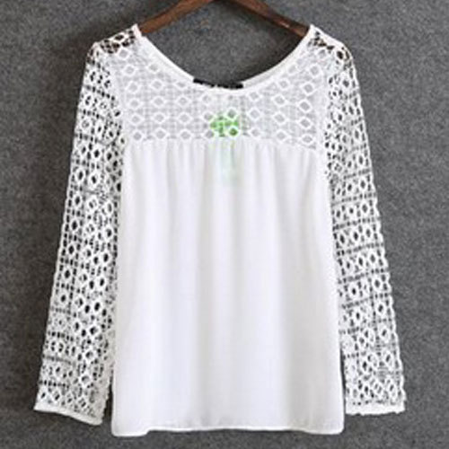 New Nice Spring Autumn Long Sleeve Lace font b Blouse b font Fashion Sexy Hollow Out