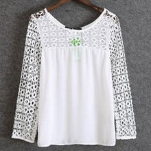 New Nice Spring Autumn Long Sleeve Lace Blouse Fashion Sexy Hollow Out Chiffon Blouse Pop Cozy Elegant Women Blusas & Shirts