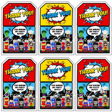Superhero Favor tags, The Avengers Thank you Tags, Superheroes ...