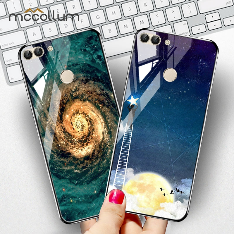Phone Painted Tempered Glass Case For Huawei Honor 7A 7S Cases Stars Space Silicone Cover for Huawei Y5 Prime 2018 Funda Capa