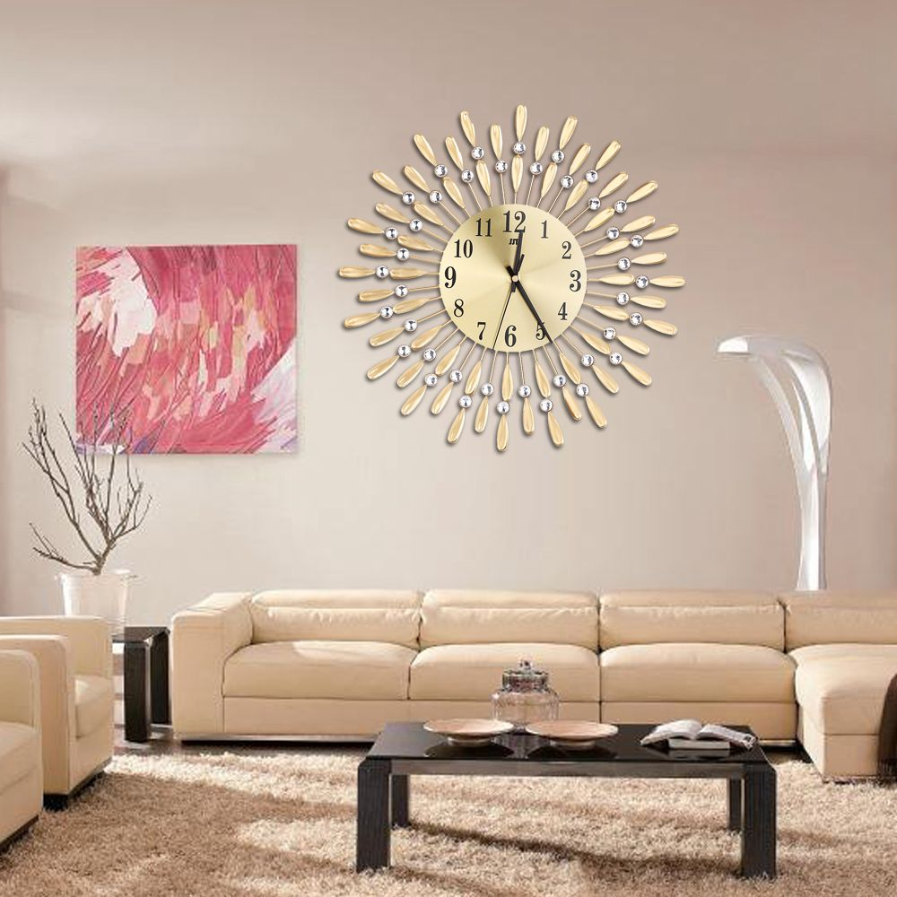 Image 3 - 15 inch 3D Large Wall Clock Shiny Rhinestone Sun Style Modern Living Room Decor-in Wall Clocks from Home & Garden