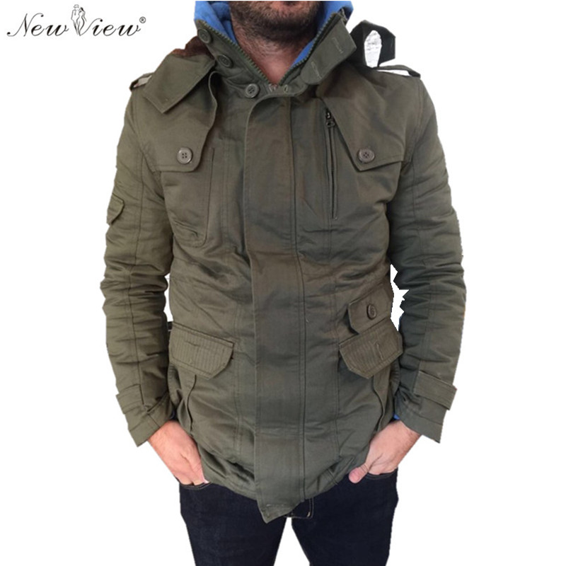 2016 Parka Winter Jacket Mens Thick Fur Coat Hooded Fashion Warm Parka Men Plus Size 4XL 5XL Jaqueta Masculina Black Khaki Army