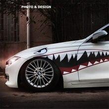 Pegatina reflectante para los dientes de la boca del tiburón, calcomanía Exterior de reacondicionamiento fresco para puerta lateral de coche, color rojo y gris, 1 par