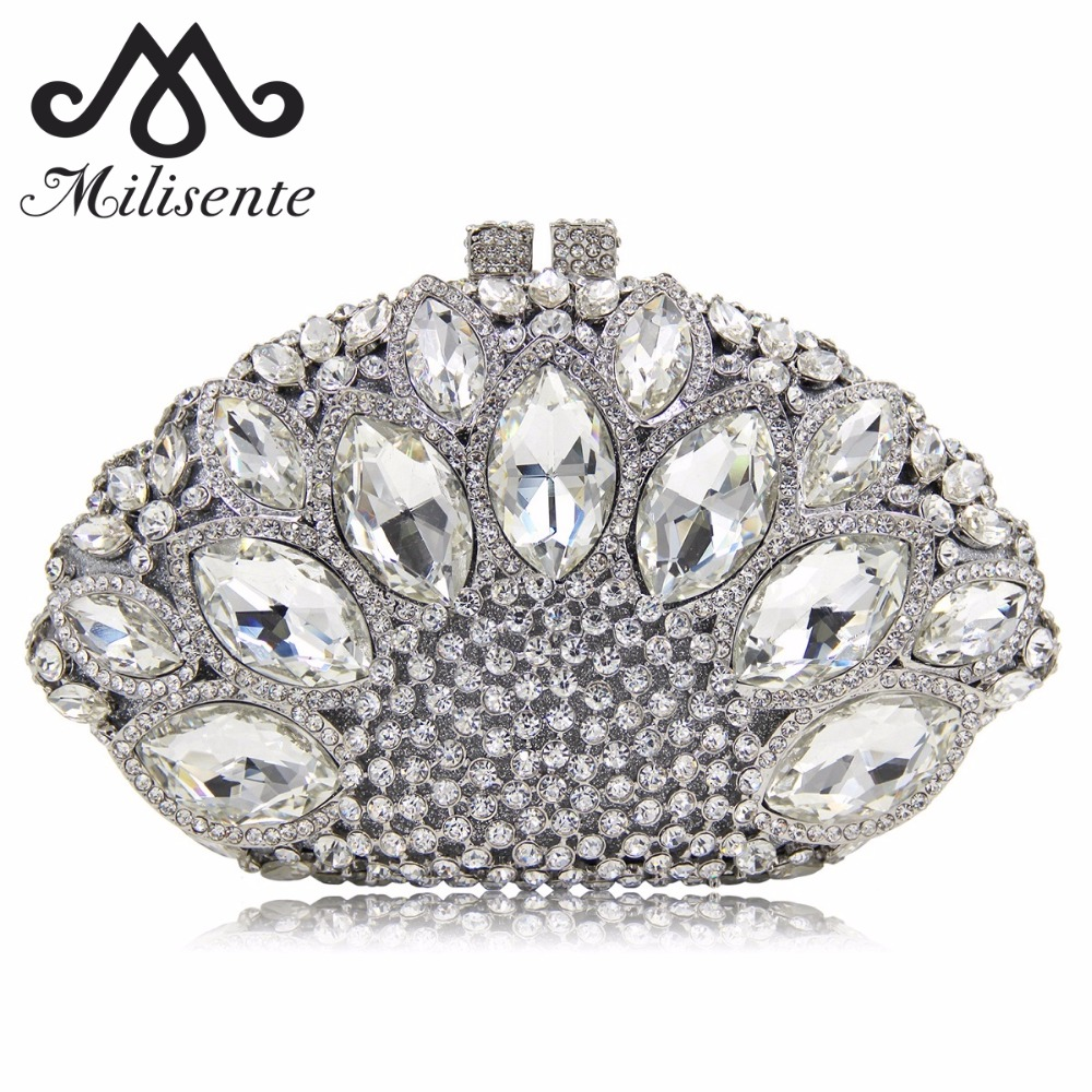 Milisente Women Clutch Luxury Crystal Bag Wedding Purse Party Clutches Purses Wholesale Silver Bags milisente women luxury rhinestone clutch evening handbag ladies crystal wedding purses dinner party bag gold