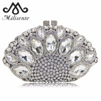 Milisente Women Clutch Luxury Crystal Bag Wedding Purse Party Clutches Purses Wholesale Silver Bags
