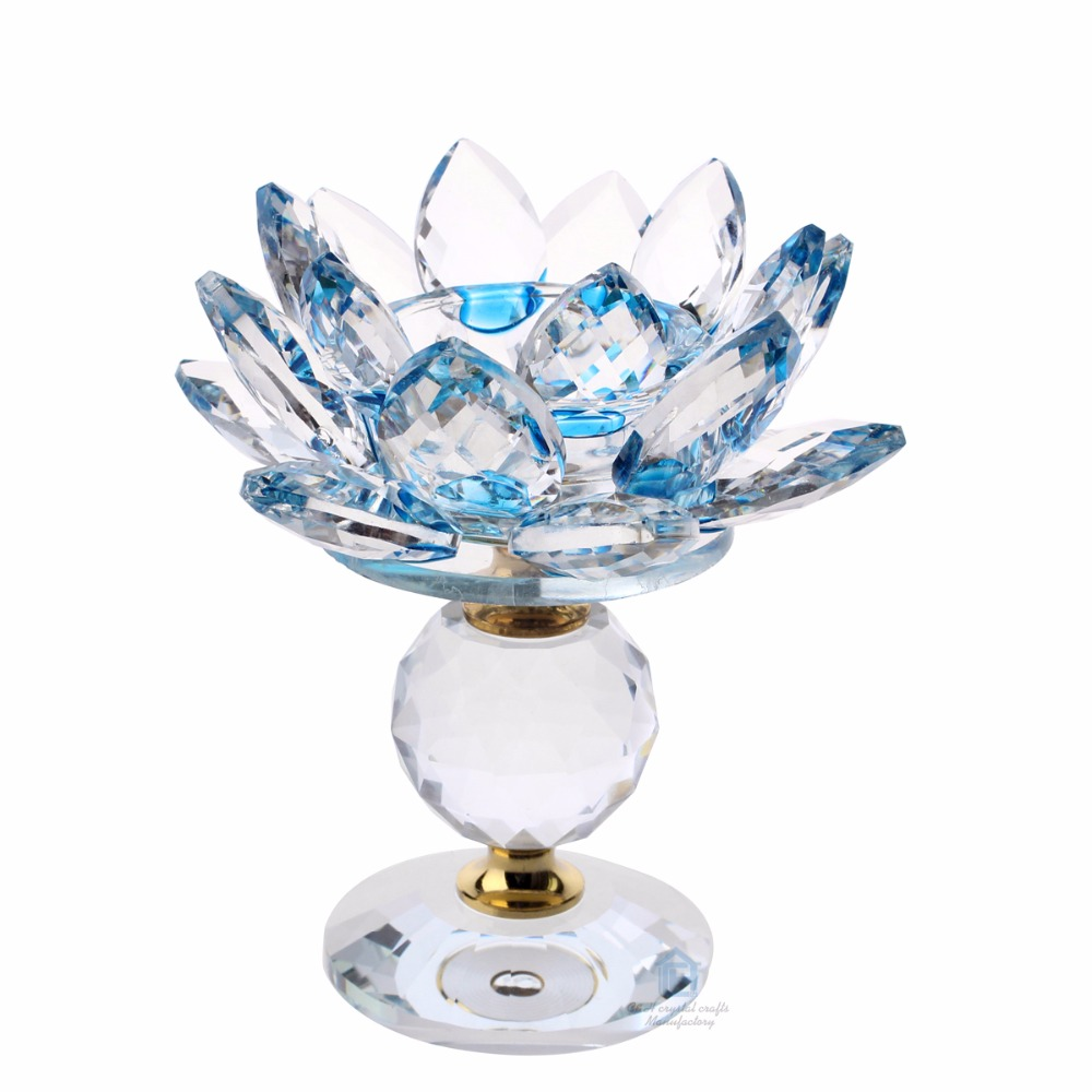 Top Grade Crystal Lotus Flower Candle Holder Fengshui Home Office