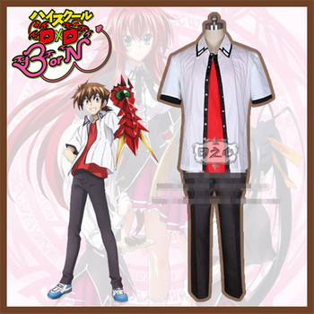 Anime High School DxD Hyoudou Issei School Uniform Cosplay Costume T-Shirt+Tops+Pants D