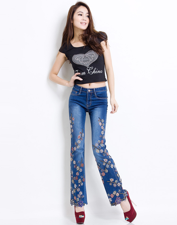 KSTUN Women Jeans with Embroidery High Waist Blue Denim Pants Bell Buttom Jeans Rhinestones Embroidered Fashion Quality Brand 12