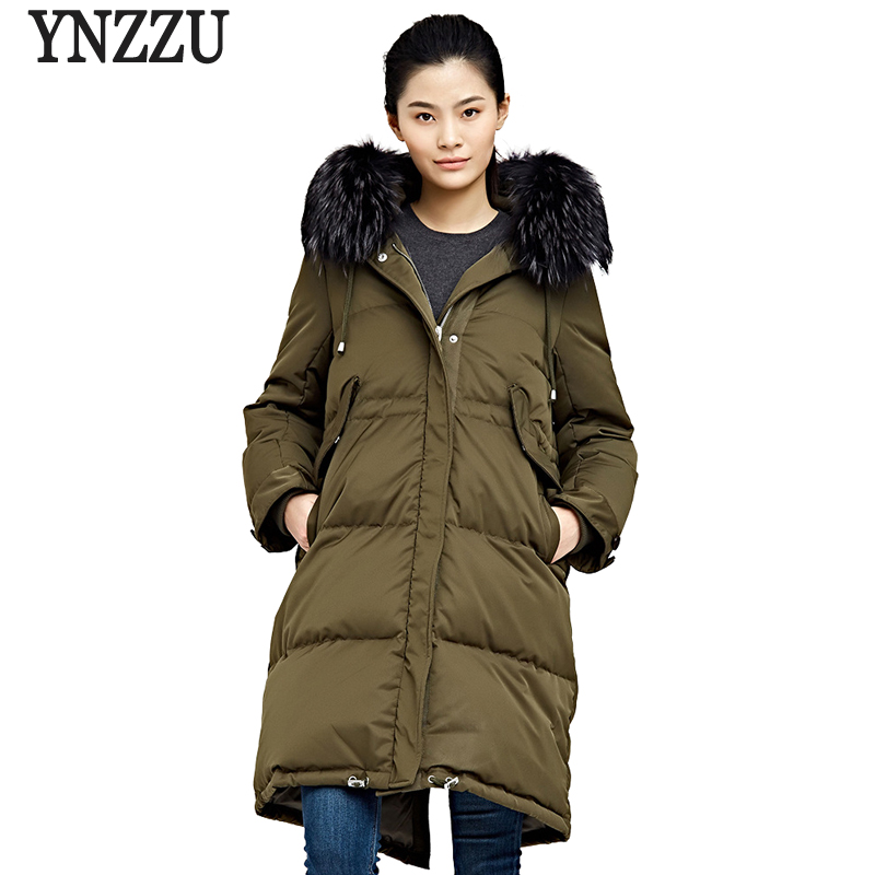 Luxury Large Real Raccoon Fur 2018 Winter Women's   Down   Jacket Thicken Warm 90% White Goose   Down     Coat   Woman Snow Outwear AO736