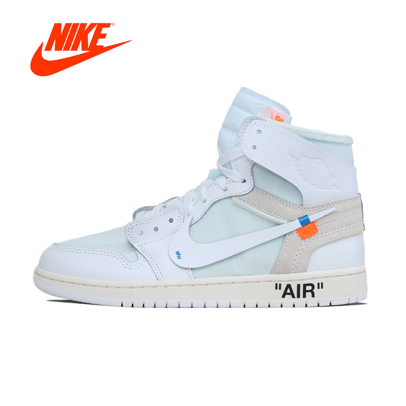 Original New Arrival Authentic NIKE Air Jordan 1 X Off-White AJ1 Men's Basketball Shoes Sport Sneakers Good Quality AQ0818-100 баскетбольные кроссовки nike air jordan air jordan retro hi og laser aj1 705289 100