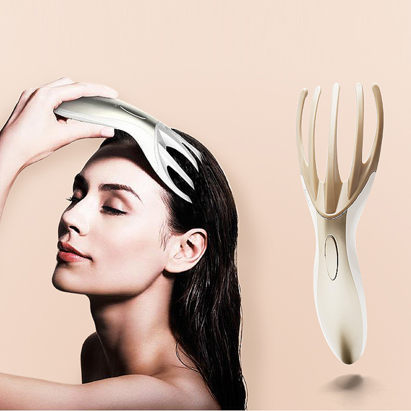 Professional Head Massager comb Electronic Soft Resin Finger Gripper Claw Head Spa Vibration Scalp Massage Tool Stress Relief
