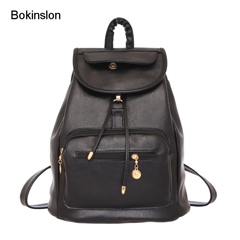 Bokinslon Woman Leather Backpack Fashion College Wind Women Backpack Casual Retro PU Leather Female Brand Backpack