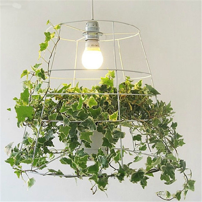 Energy Hanging Pot Plant Cage Pendant Light Creative Metal