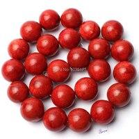 Envío libre 16mm natural coral rojo forma redonda suelta Cuentas Strand 15