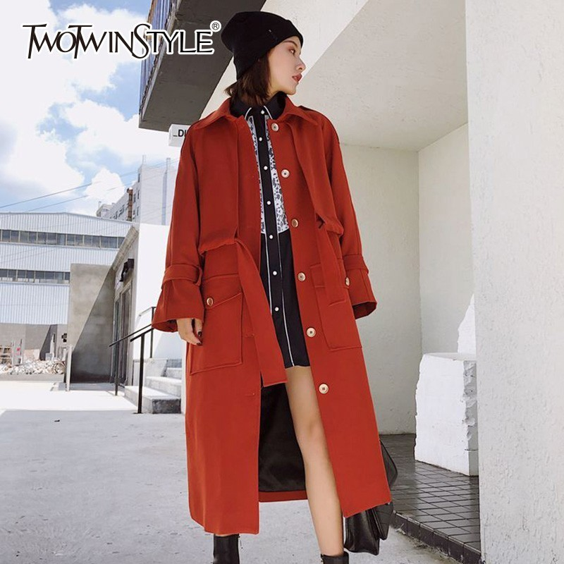 TWOTWINSTYLE Lace Up Female   Trench   Coat For Women Windbreaker High Waist Long Sleeve Patchwork Women's Outwear 2018 Autumn New