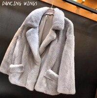 Winter Clothes Women Natural Real Mink Fur Coat Motorcycle Jacket Thick Warm Ladies Real Fur Coat