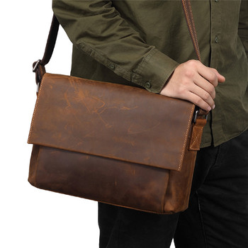 Nesitu High Quality Vintage Brown Thick Durable First Layer Real Skin Genuine Crazy Horse Leather Men Messenger Bags M96