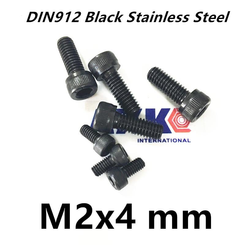Free Shipping 100pcs/Lot Metric Thread DIN912 M2x4 mm M2*4 mm Black Grade 12.9 Alloy Steel Hex Socket Head Cap Screw Bolts 20pcs m3 6 m3 x 6mm aluminum anodized hex socket button head screw