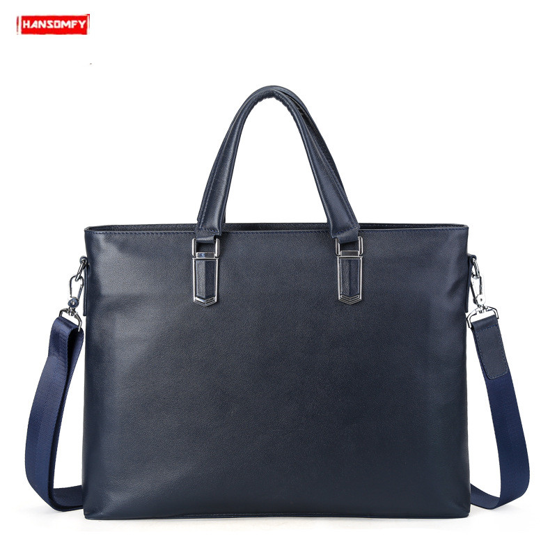 Genuine Leather Business Large Capacity Men Briefcase Commuter Male Shoulder Bag 14 Inch Laptop Handbag Messenger Blue Black Bag