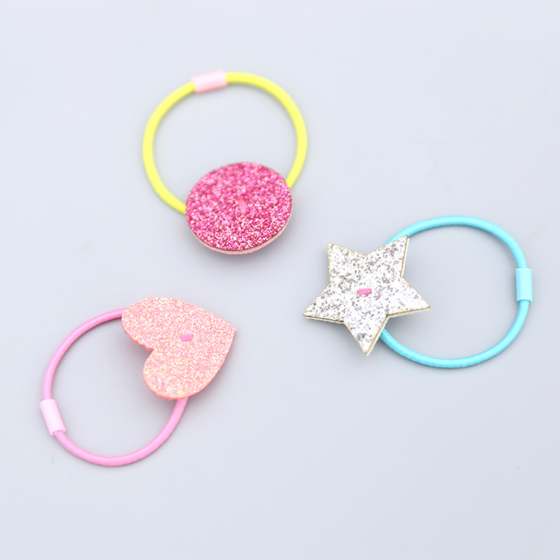 3pcs Baby Heart Shape Elastic Hair Bands Kids Girls Mini Ponytail Holder  Hair Rope Children Toddler Girls Basic Hair Accessory 91ee13db4a6