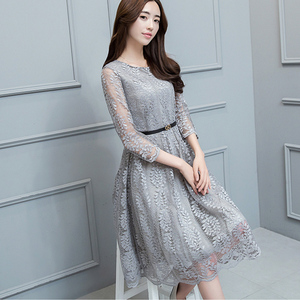 Floral Lace Dress Women Hight Waist Plus Size 3xl Elegant Dresses Feminina Gray Hollow Out Belt Silm Knee Lenght 3/4 Sleeves