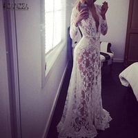 2015 Summer European Style Womens Sexy Lace Embroidery Maxi White Dress Long Sleeve Deep V Neck